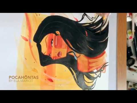 480x360 Pocahontas (Wild Beauty) Watercolor Speed Paint