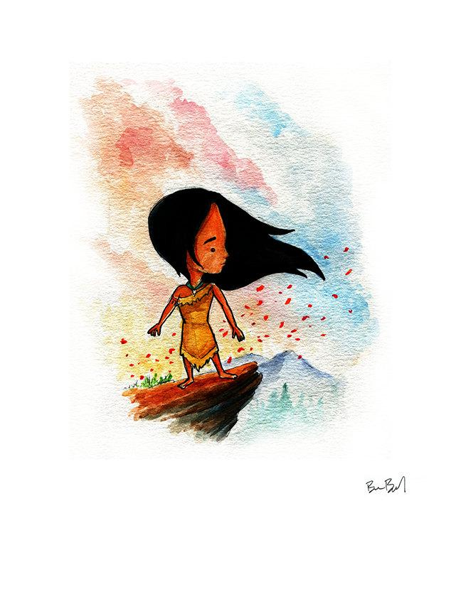 648x864 Pocahontas Inspired Watercolor Print Ben Byrd Art