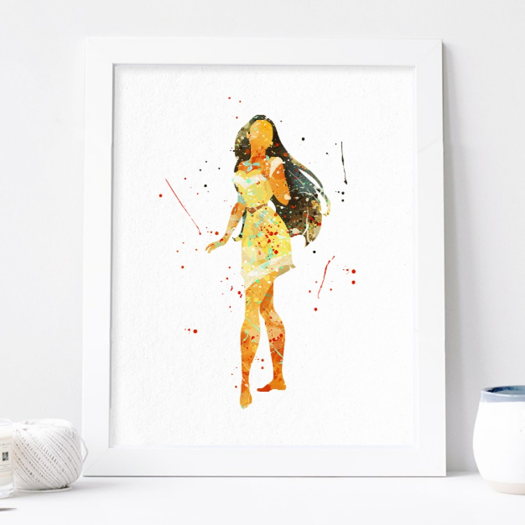 1024x1024 Pocahontas Poster Princess Watercolor Art Print Nursery Wall Decor