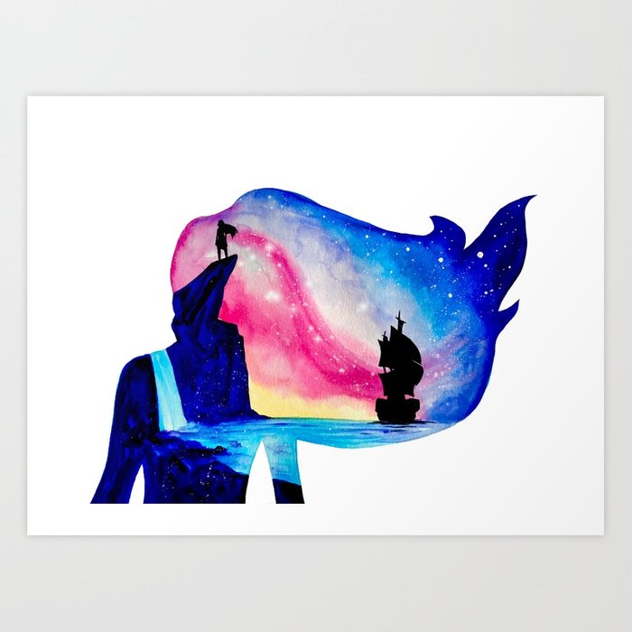 700x700 Pocahontas Watercolor Double Exposure Painting Art Print By