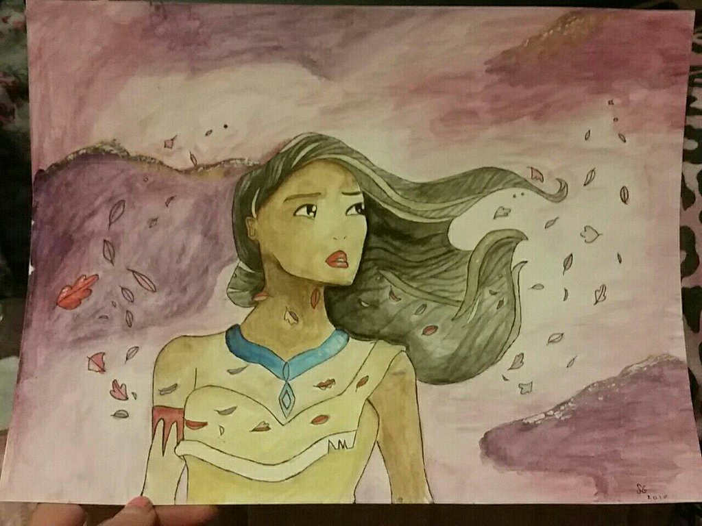 1024x768 Pocahontas Watercolor By Sierradactyl