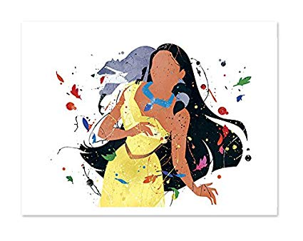 425x338 Pocahontas Inspired Princess Watercolor Art Print Wall