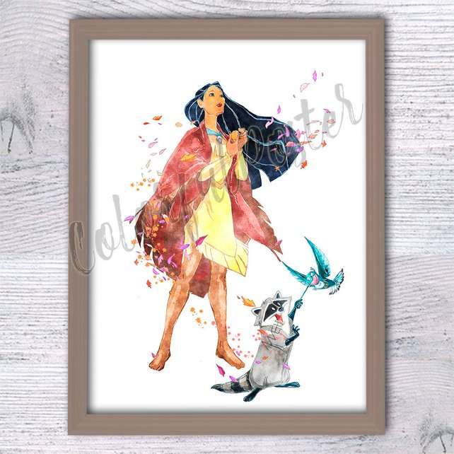 642x642 Pocahontas Watercolor Print Disney Princess Poster Kids Room Etsy