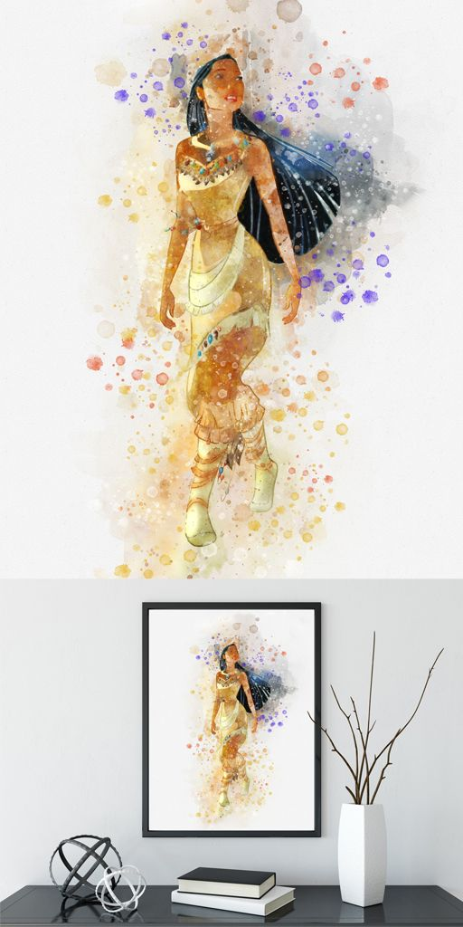 512x1024 Disney Pocahontas Watercolor Poster Print