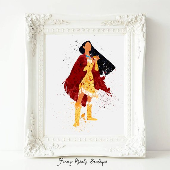 570x569 Disney Princess Print Pocahontas Watercolor Art Princess Etsy