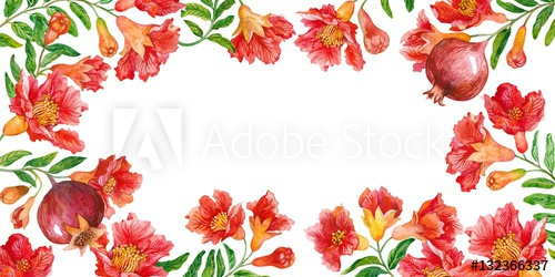 500x250 Greeting Card Blooming Branches Of A Pomegranate. Watercolor