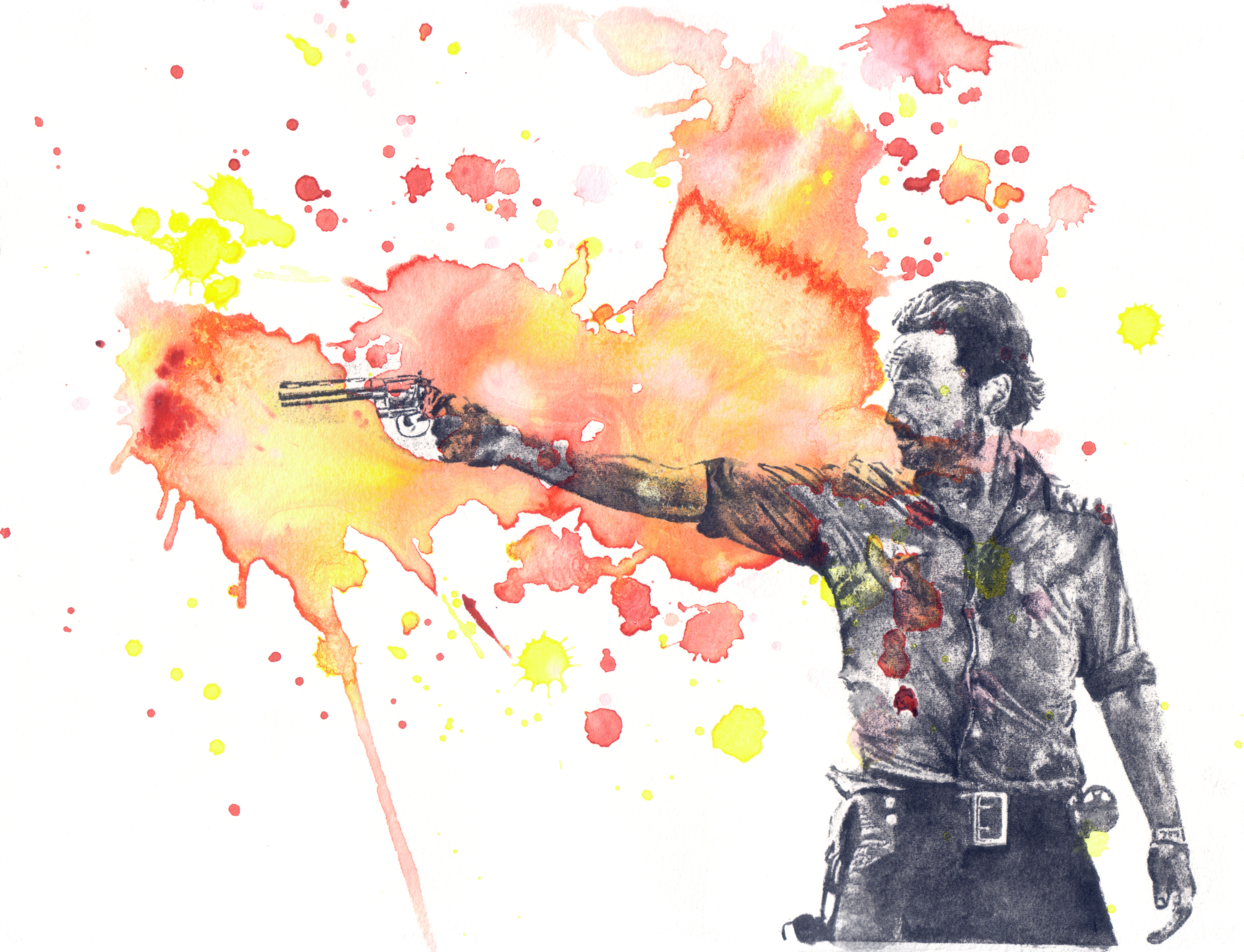6667x5104 Walking Dead Art Watercolor Painting Rick Grimes Isabelle