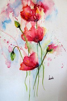 Poppy Paintings Watercolor