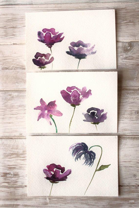 570x855 Original Art Cards, Watercolor Postcards Hand Painted Original
