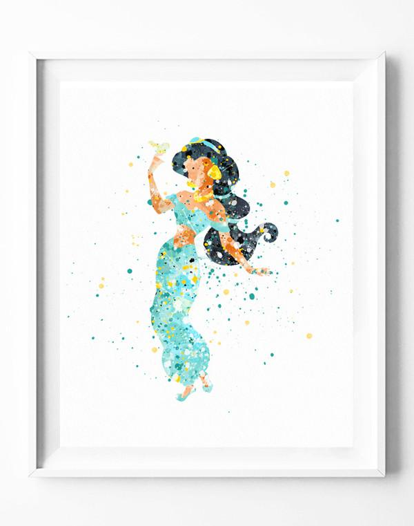 600x761 Disney Princess Jasmine Art Print Aladdin Poster Watercolor