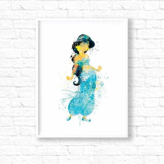 570x570 Disney Princess Jasmine Watercolor Nursery Art Printdisney Etsy