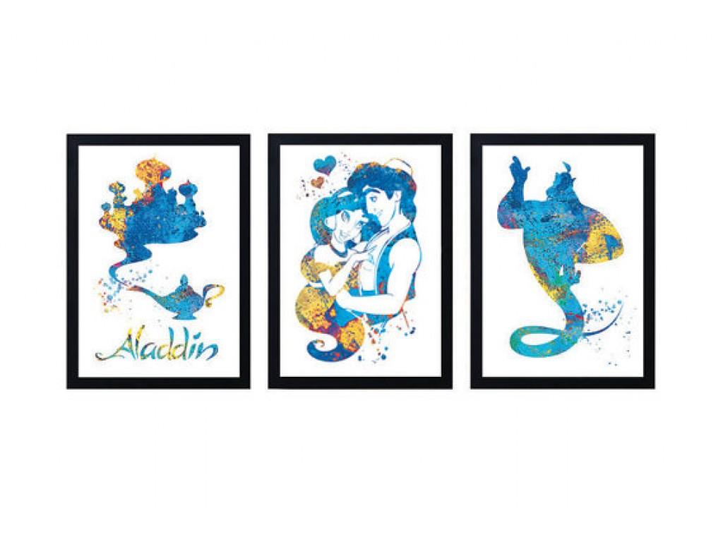 1024x768 Aladdin And Princess Jasmine Disney Watercolor Print Aladdin