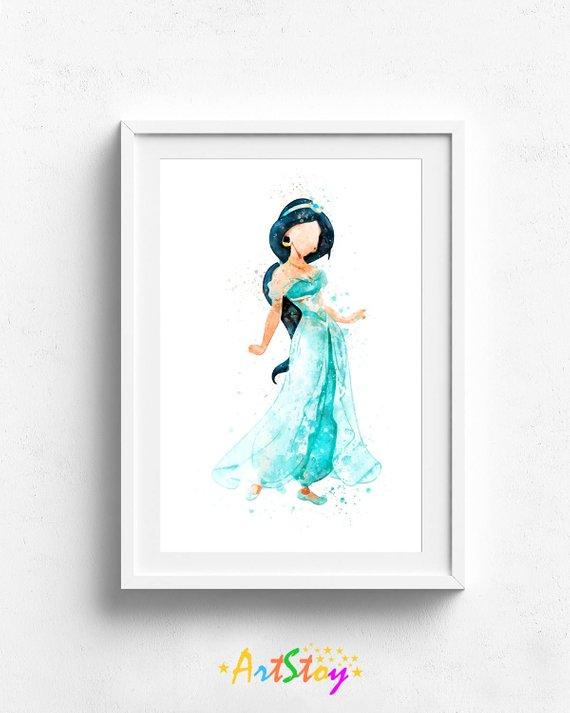 570x713 Princess Jasmine Aladdin Watercolor Princess Art Print Etsy