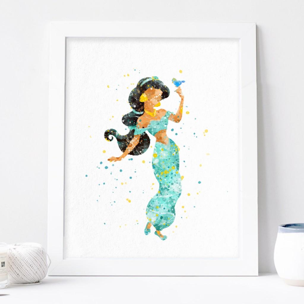 1024x1024 Princess Jasmine Art, Aladdin Watercolor Print Nursery Wall Decor