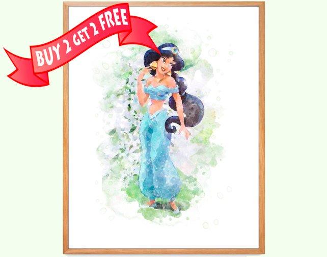 642x504 Princess Jasmine Art Jasmine Watercolor Print Aladdin Poster Etsy