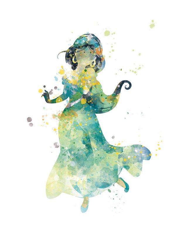 642x803 Princess Jasmine Print Watercolor Princess Art Jasmine Aladdin Etsy