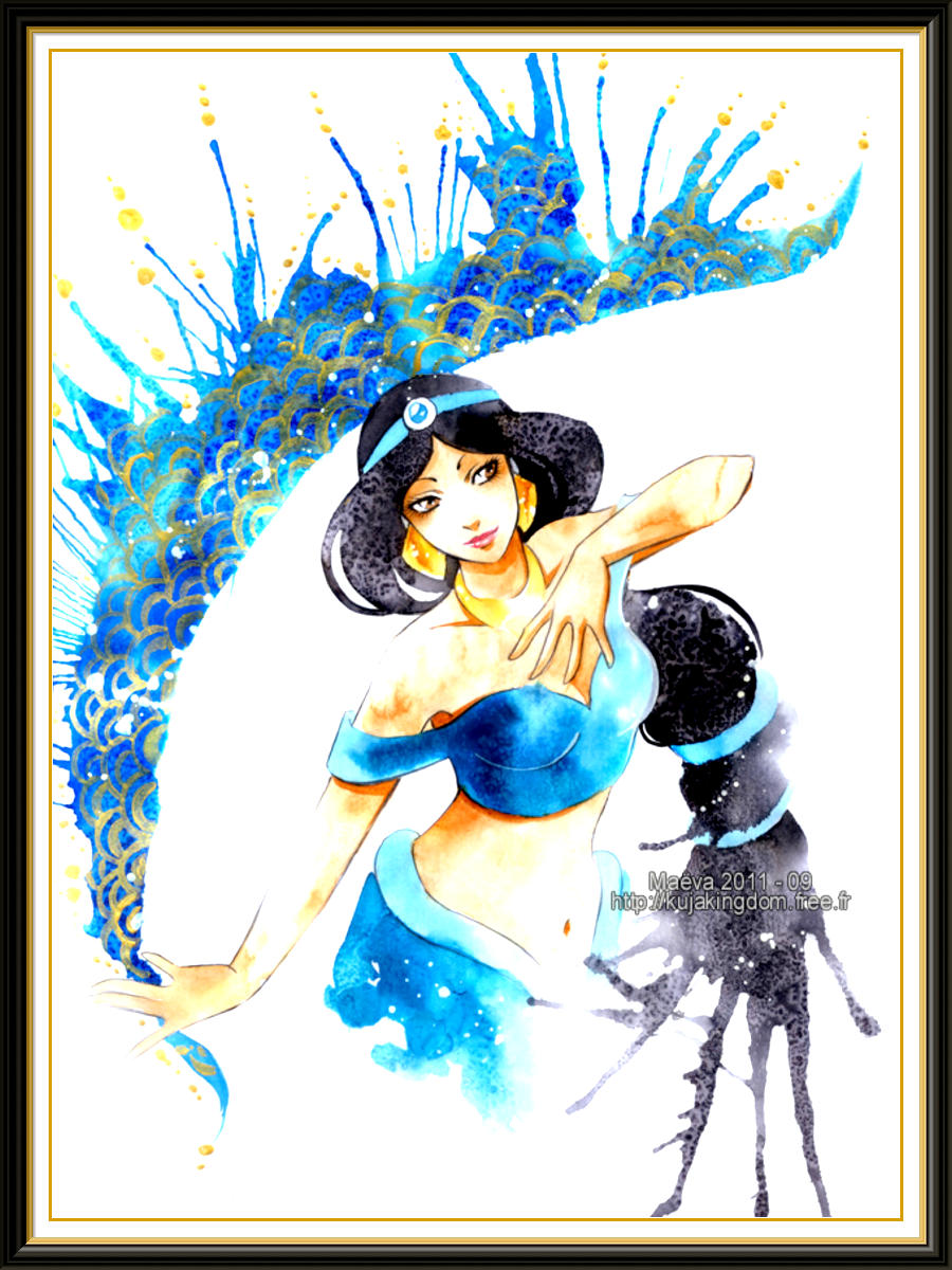 900x1200 Princess Jasmine Watercolor Disney Art Print On Old Pages From