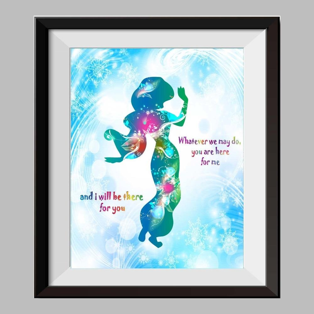 1000x1000 Princess Jasmine And Aladdin Watercolor Print Nursery Decor