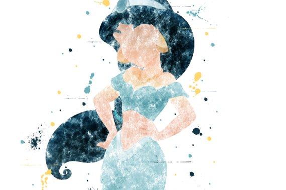 570x380 Printable Princess Jasmine Watercolor Wall Art Disney Etsy