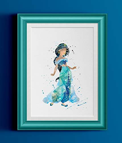 429x500 Princess Jasmine Watercolor Home Print Handmade