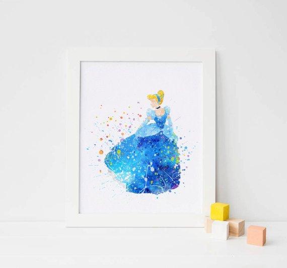 570x533 Cinderella Print Disney Princess Watercolor Cinderella Art Etsy