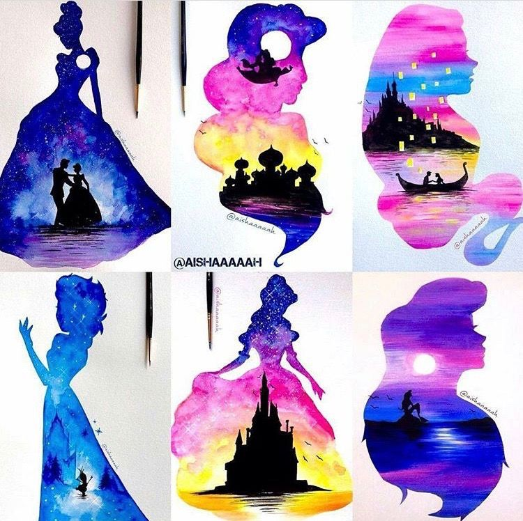 750x748 Gorgeous Double Exposure Disney Princess Watercolor Disney