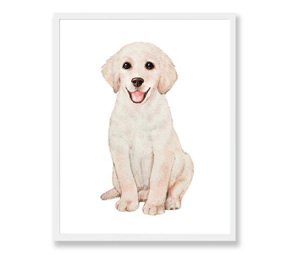 570x507 Golden Retriever Dog Nursery Art Puppy Watercolor Painting Etsy