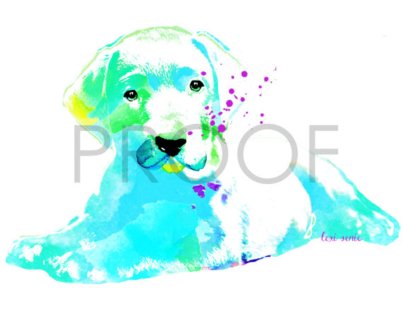 570x448 Labrador Retriever Puppy Watercolor Dog Portrait Delta Free In
