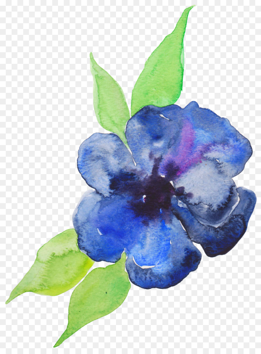 900x1220 Blue Watercolor Painting Flower Violet Purple
