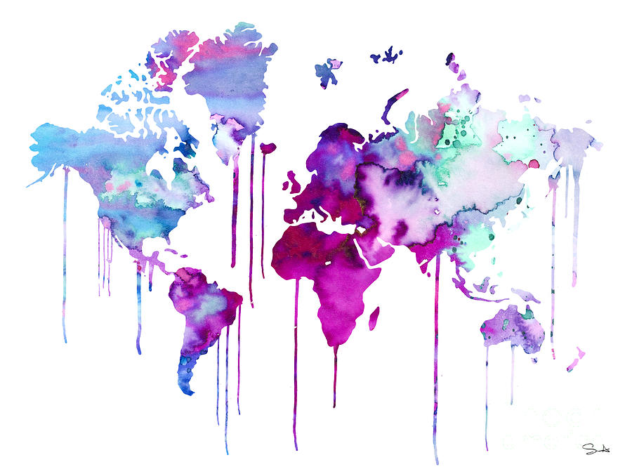 900x675 Blue Purple Watercolor Map Painting By Watercolor Girl