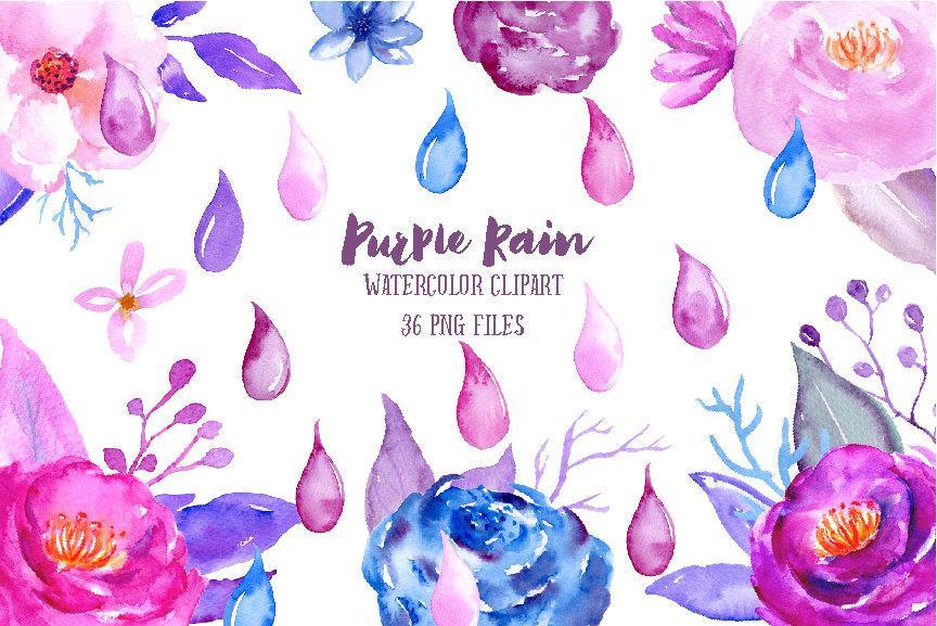 864x577 Watercolor Purple Rain, Rain Drops, Purple Flowers, Blue Flowers