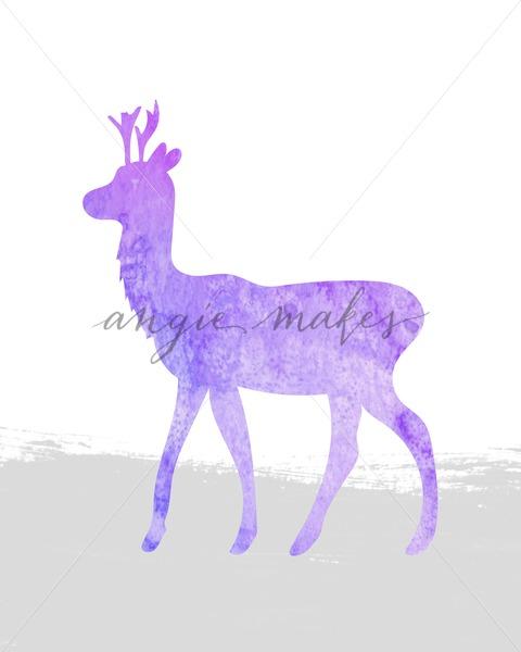 480x600 Purple Watercolor Deer. Painted Deer Artprint