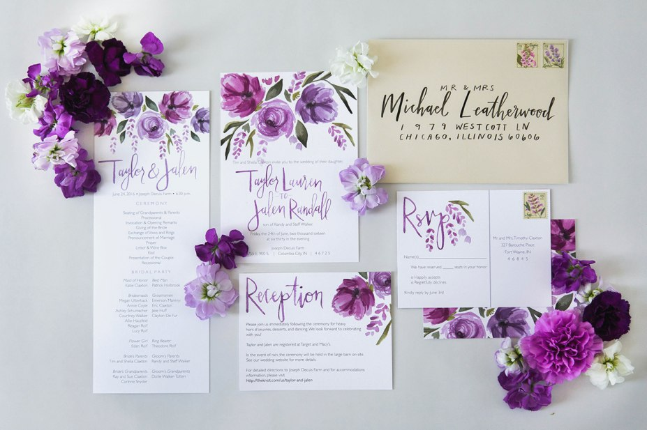 927x617 Purple Wedding Invitations Awesome Purple Floral Watercolor