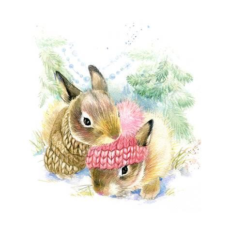 473x473 Cute Bunny In Winter Forest. Cute Rabbit Watercolor Drawing. Bunny