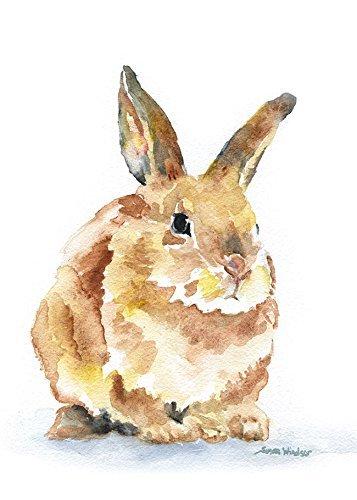 357x500 Bunny Rabbit Watercolor Print Handmade