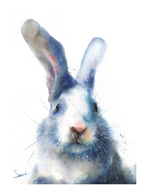 600x800 Rabbit Watercolor Print Watercolor Animal Paintings