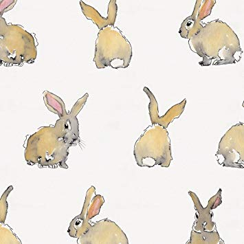 355x355 Carousel Designs Watercolor Rabbits Fabric By The Yard