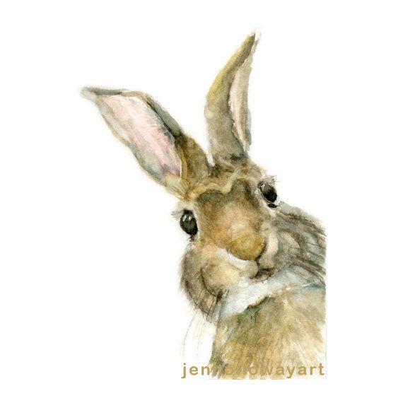 570x570 Watercolor Rabbit, Rabbit Print, Pooka Print, Jackrabbit Print