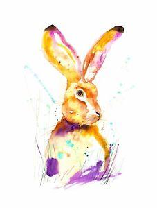 227x300 Bunny Hare Rabbit Watercolor Print Painting Large Wall Art 16x12