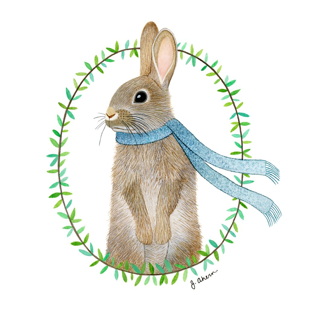 1024x1024 Cozy Rabbit Painting Jennifer Ahern