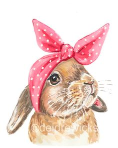 236x295 Fine Art Watercolor Original Illustration Print. Bunny. Eating