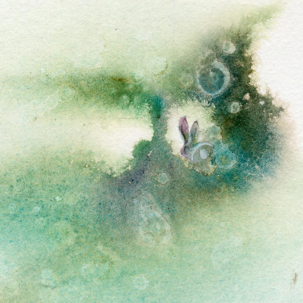 1000x1000 Follow The Rabbit (Original Watercolor Painting)