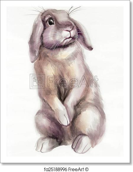 450x580 Free Art Print Of Brown Rabbit Watercolor Painting. Cute Brown