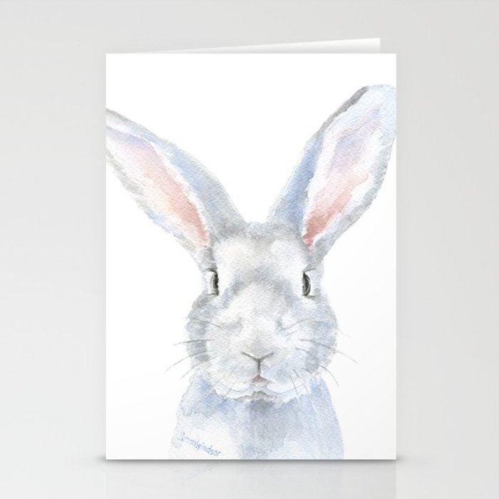 700x700 Gray Bunny Rabbit Watercolor Painting Stationery Cards By
