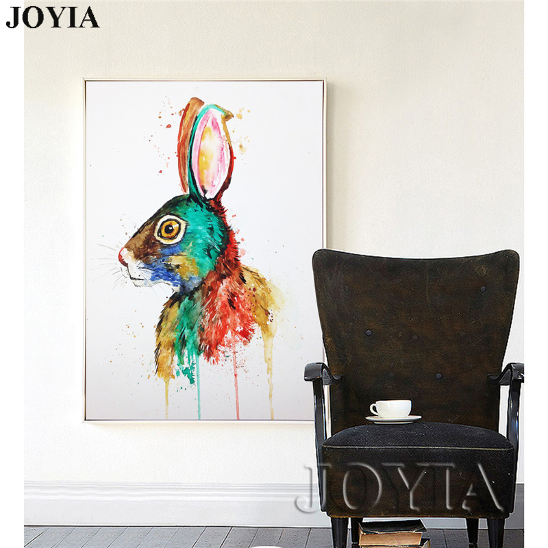800x800 Home Decor Watercolor Painting Paint Rabbit Wall Art Multicolored