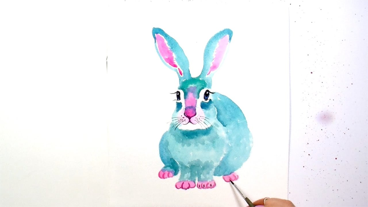 1280x720 How To Paint And Color A Cute Blue Bunny Rabbit