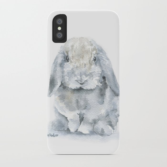 700x700 Mini Lop Gray Rabbit Watercolor Painting Iphone Case By