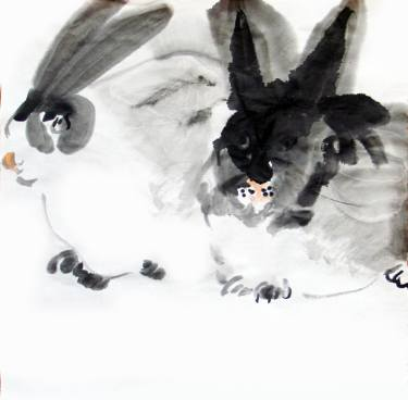 375x368 Rabbit Watercolour Ink Painting Painting By Jingyan Cheng