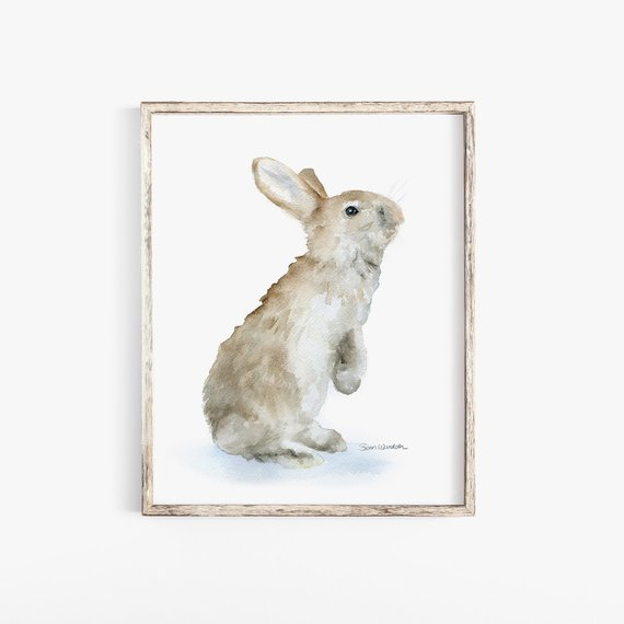 570x570 Bunny Rabbit Watercolor Painting Giclee Print Reproduction 8 X Etsy