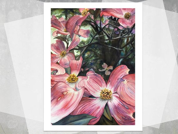 570x428 Pink Dogwoods Giclee Print Realistic Watercolor Flowers Etsy